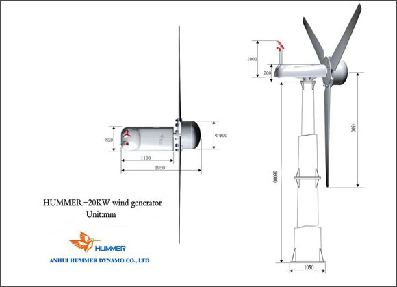 Hummer 20KW Domestic Wind Turbine