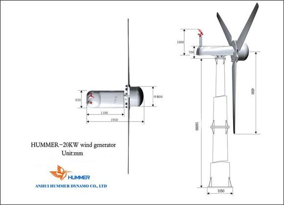 Hummer 20KW Wind Turbine For Farm