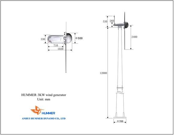 Hummer 3KW Domestic Wind Generator