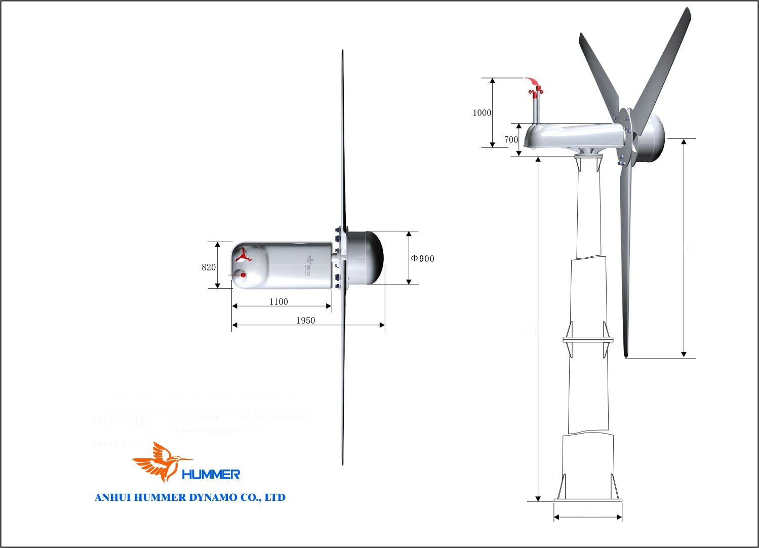 Hummer 30KW Medium Size Wind Turbine