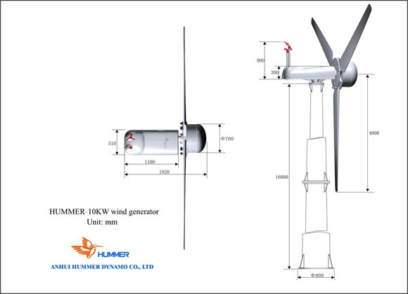 Hummer 10KW Wind Turbine For Farm Used